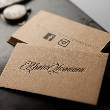 250-letterpress-business-cards-thick-brown-kraft-paper-zoum-craft-paper-business-cards